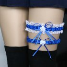 Women Girls Lace Bridal Lingerie Bowknot Wedding Party Cosplay Leg Garter Belt Suspender  Royal blue