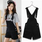 Women Girls Summer Cute Sweet Candy Color Casual Loose Denim Suspender Shorts black_S