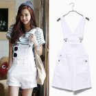 Women Girls Summer Cute Sweet Candy Color Casual Loose Denim Suspender Shorts white_XL