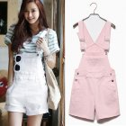 Women Girls Summer Cute Sweet Candy Color Casual Loose Denim Suspender Shorts Pink_S