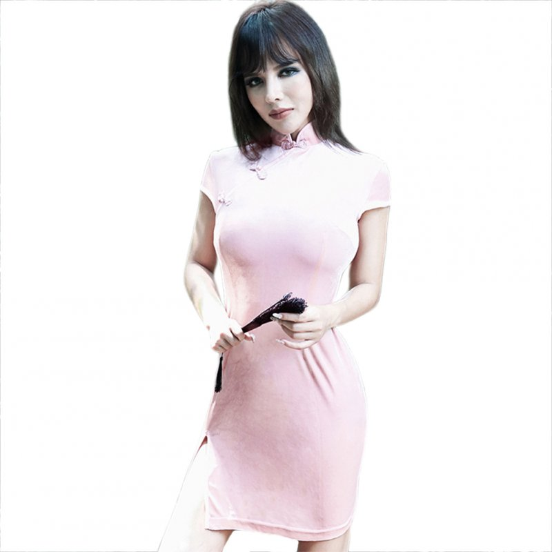 Women Halloween Cheongsam Retro Dress Dress Dark Sexy Dress Pink_XL