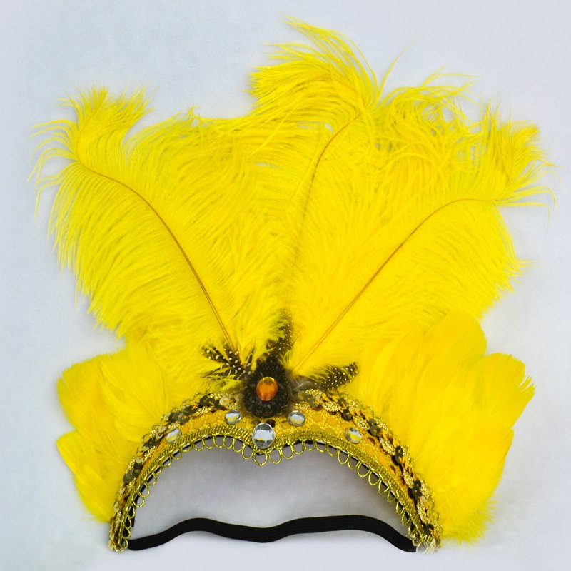 Women Halloween Xmas Festival Vacation Night Club Cocktail Carnival Party Belly Dance Show Headdress Feather Headwear Costume yellow