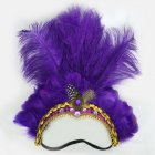 Women Halloween Xmas Festival Vacation Night Club Cocktail Carnival Party Belly Dance Show Headdress Feather Headwear Costume purple