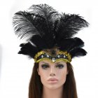 Women Halloween Xmas Festival Vacation Night Club Cocktail Carnival Party Belly Dance Show Headdress Feather Headwear Costume black