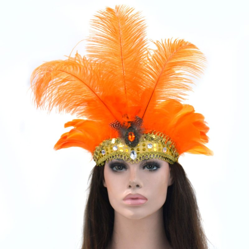 Women Halloween Xmas Festival Vacation Night Club Cocktail Carnival Party Belly Dance Show Headdress Feather Headwear Costume Orange