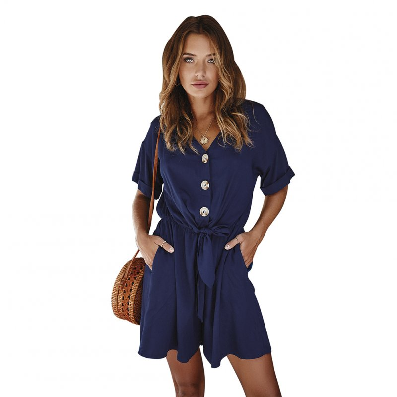 Women Jumpsuit V-Neck Single-breasted Bowknot Ribbon Short Sleeve High Waist Summer Short Pants Navy blue_L