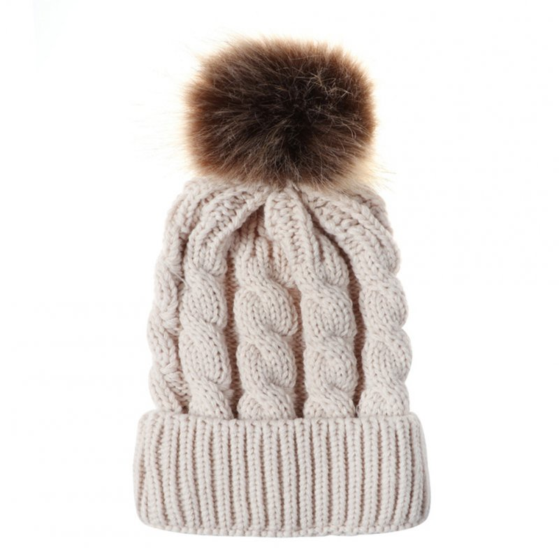 Women Knitted Cap Fashionable Solid Color Fuzzy Ball Warm Hat Cap