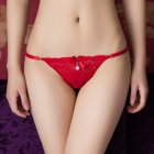 Women Lace Floral Erotic Briefs Elastic Sexy Underwear G-string Thong Temptation Panties Red_One size