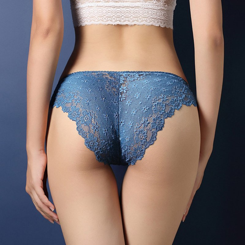 Women Lace Floral Sexy Underwear Ultra-thin Low Rise Erotic Lingerie Briefs Temptation Panties Blue_One size