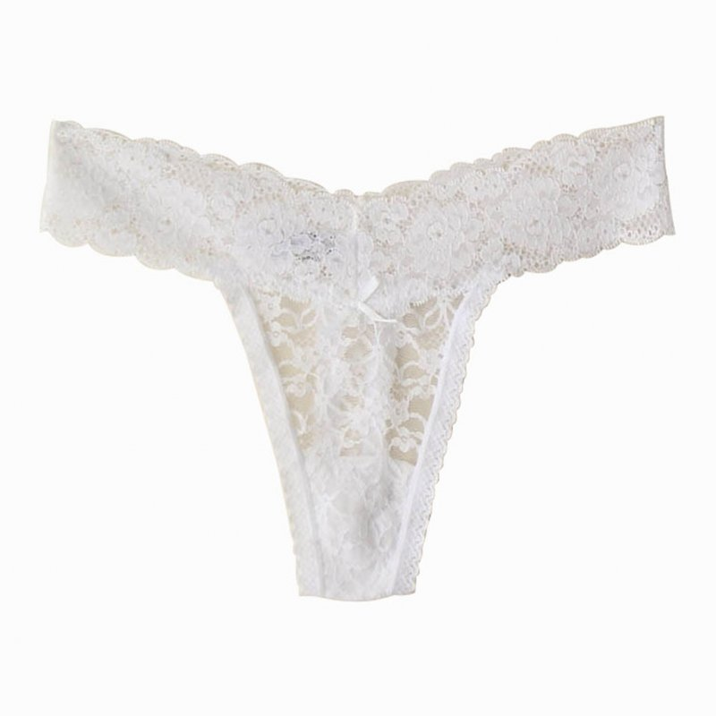 Women Lace G-string Briefs Seamless See-throught Low Waist Sexy Underwear Erotic Panties white_M