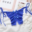Women Lace Sexy Underwear Open Crotch Bowknot G-string Erotic Lingerie Briefs Temptation Panties Blue_One size