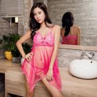 Women Lace Sling Nightdress + Briefs See-through Sexy Temptation Erotic Lingerie Underwear Rose Red_One size