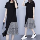 Women Lady Casual New Large Size Dress Korean Version Short-sleeve Long T-shirt Fake Two Pieces Irregular Dress black_L