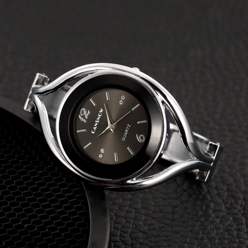 Women Lady Fashion Luxury Quartz Watch All Steel Analog Silver Dial Dress Watch Bracelet Wristwatch Round black