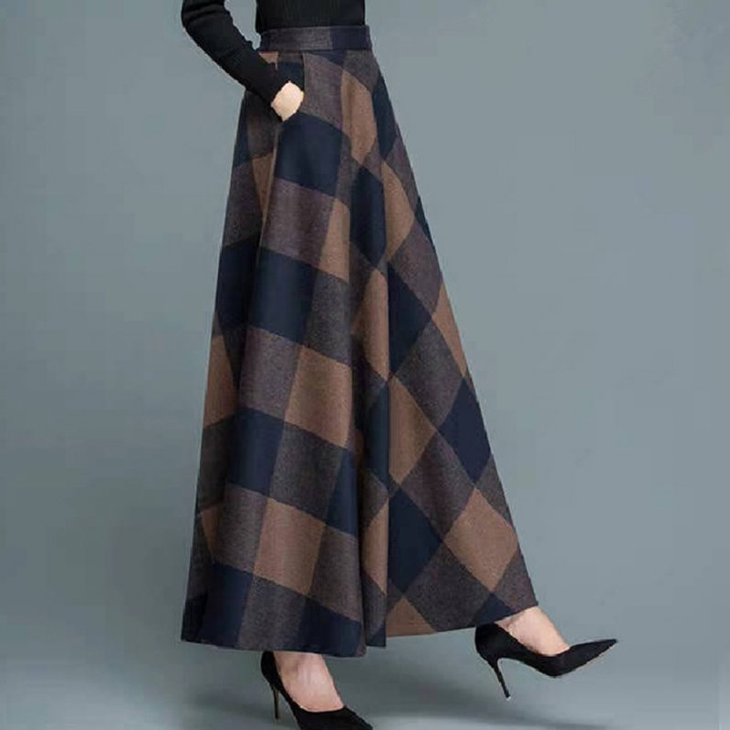 Women Lady Fashion Simple Design Autumn Winter Woolen Plaid A-line Skirt 2#_M