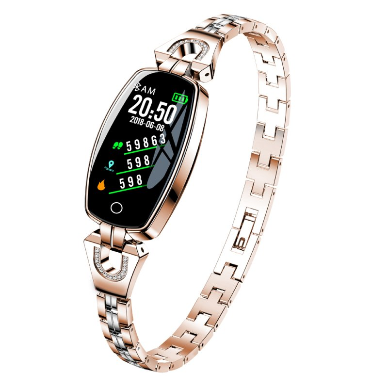 Women Lady Fashion Wristband Heart Rate Blood Pressure Monitor Fitness Tracker Rose gold