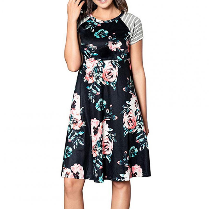 Women Lady Maternity Dress Short Sleeve Round Collar Fashion Printing Breastfeeding Nursing Dress black_XL
