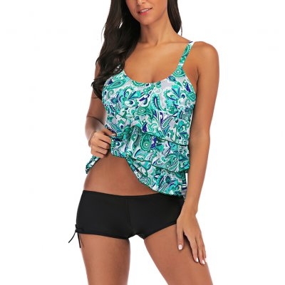 Women Large Size Floral Printing Boxers Top Bikini Set for Swimming green_L