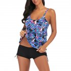 Women Large Size Floral Printing Boxers Top Bikini Set for Swimming blue_L