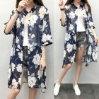 Women Large Size Thin Printing Beach Sunscreen Chiffon Cardigan 3#_Large size 80-145 kg worn inside