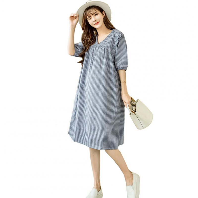 Women Large V-Neck Half-Sleeve Medium Plaid Casual Loose Dress for Pregnant  Photo Color_XL