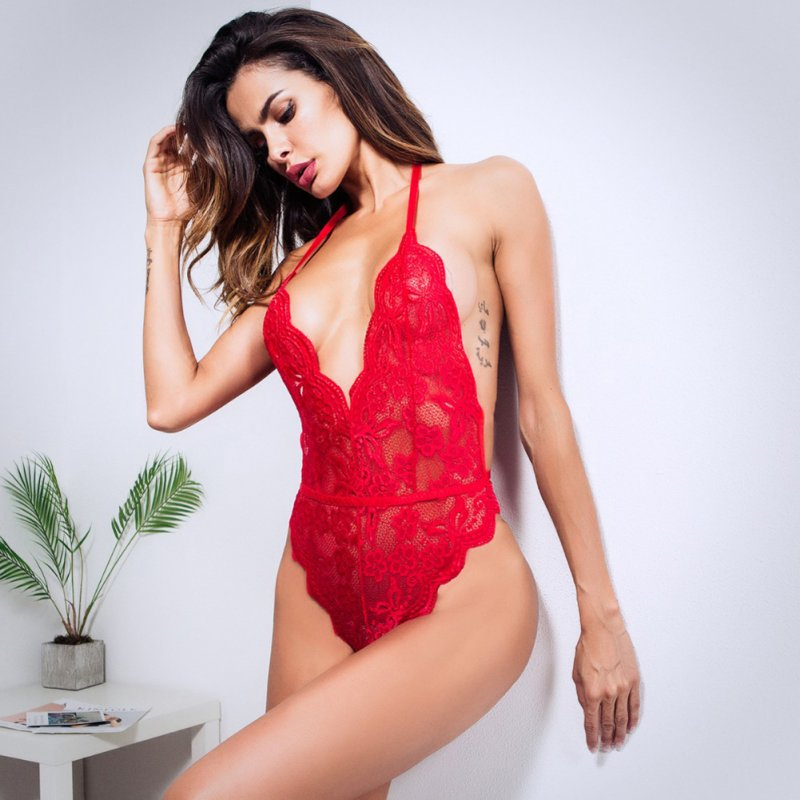 Women Lingerie Plus Size Sexy Hot Erotic Dress Lace Porno Underwear Transparent Sex Costumes red_XL
