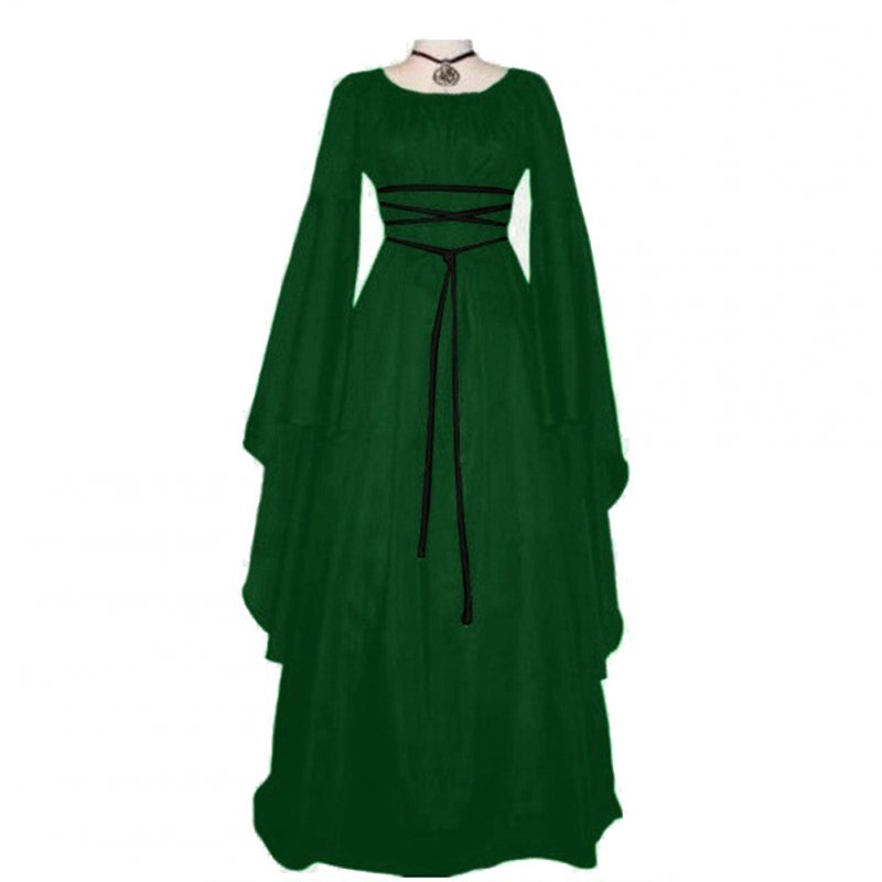 Women Long Sleeve Round Collar Belt Irregular Ladies Dress Halloween Costume green_M