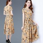 Women Long Style Round Collar Short Sleeve Floral Printing Dress for Summer Wear Khaki_L