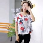 Women Loose Fashion Print Short Sleeve T-shirt Chiffon Breathable Shirt 3_free size