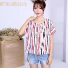 Women Loose Fashion Print Short Sleeve T-shirt Chiffon Breathable Shirt 10_free size