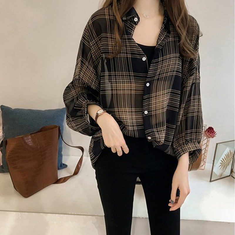 Women Loose Plaid Pattern Long Sleeve Blouse
