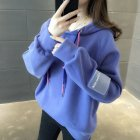 Women Loose Thickening Fleece Lined Casual Sport Hooded Pullover for Autumn Winter   purple M