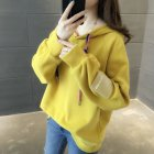 Women Loose Thickening Fleece Lined Casual Sport Hooded Pullover for Autumn Winter   yellow M