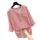 Women Loose V-collar Vertical Striped Chiffon Shirt Three Quarter Sleeves Tops Red Stripe_L