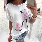 Women Loose-fitting Floral Heels Printed Short-sleeved T-shirt