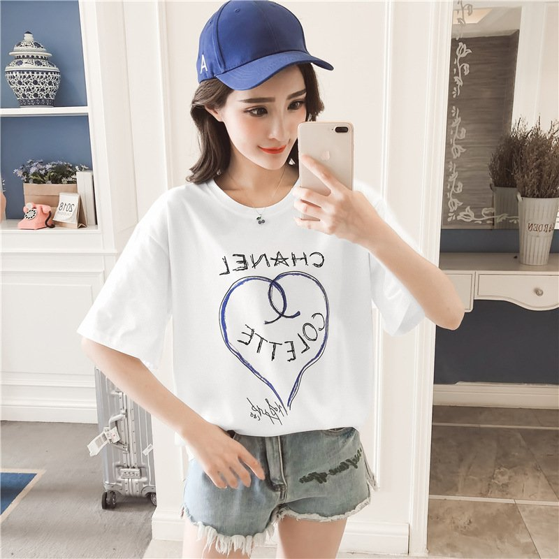Women Loving Heart Letters Printing Summer Short Sleeve T-shirt