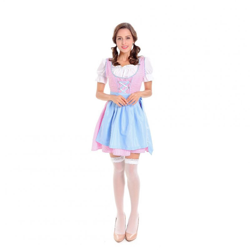 Women Maid Costume Short Skirt for Club Beer Festival Halloween Dresses Section 3 (white top; plaid skirt; apron)_M