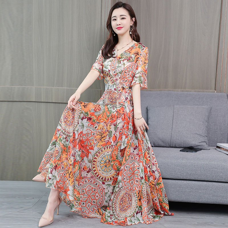 Women Floral Printed A-line Waisted Dress