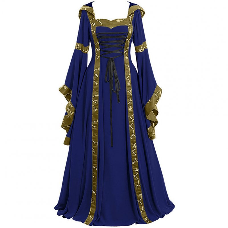 Women Medieval Retro Hooded Dress Square Collar with Trumpet Sleeves Big Swing Dress Halloween Christmas Suit blue_S