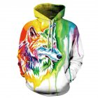 Women Men 3D Colorful Wolf Head Digital Printing Hoodie Pullover Casual Loose Sweater Tops  Colorful wolf head_L