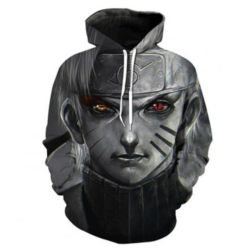 Women Men 3D Japan Anime Character Digital Printing Hoodie Pullover Gray Naruto_XXL