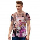 Women Men Ahegao Anime Summer Loose 3D Printing Short Sleeve T-shirt D style_XL