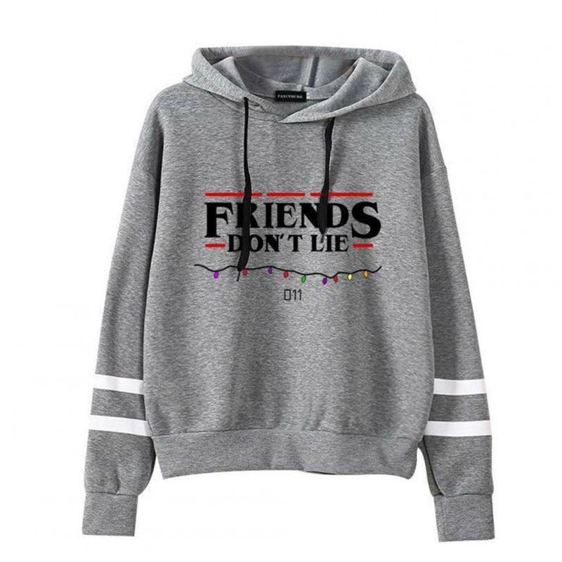 Women Men Autumn Winter American Drama FRIENDS Long Sleeve Print Hoodie Tops gray_S