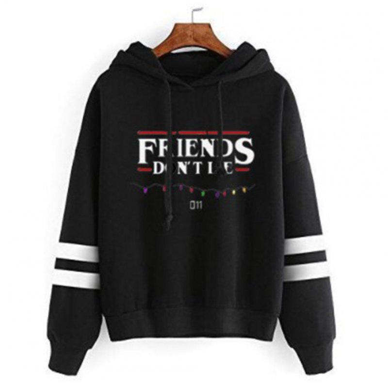 Women Men Autumn Winter American Drama FRIENDS Long Sleeve Print Hoodie Tops black_S