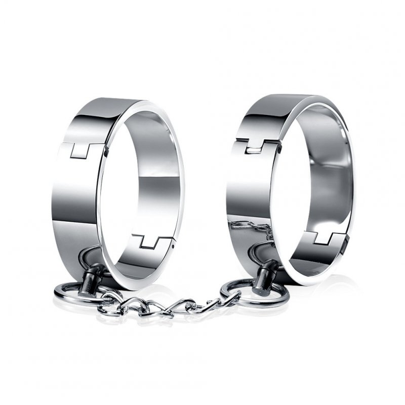 Women Men Handcuffs Ankle Cuff Stainless Steel Lockable Fetish Restraints Adult Game Sex Toys
