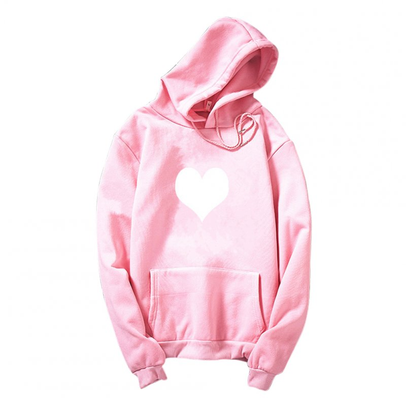 Women Men Heart-shaped Printing Loose Casual Long Sleeve Fleece Hooded Sweatshirts Pink white heart_XXL