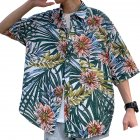 Women Men Leisure Shirt Personality Floral Printing Short Sleeve Retro Hawaii Beach Shirt Top Summer C109 #_L