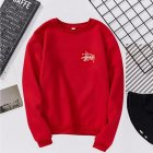 Women Men Long Sleeve Round Collar Loose Sweatshirts for Casual Sports  red M