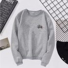 Women Men Long Sleeve Round Collar Loose Sweatshirts for Casual Sports  gray_2XL