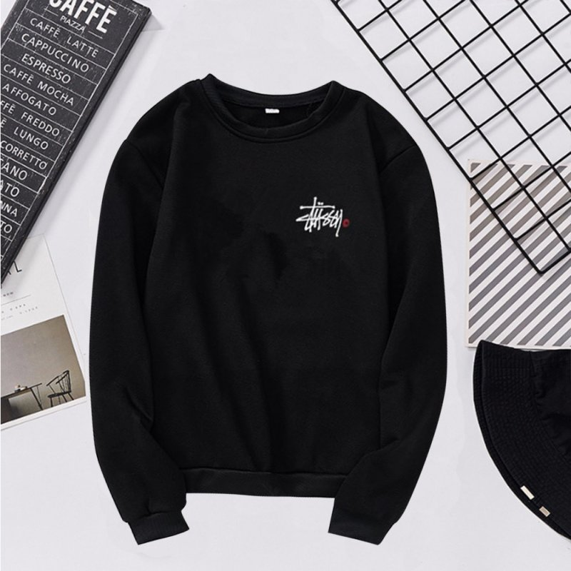 Women Men Long Sleeve Round Collar Loose Sweatshirts for Casual Sports  black_2XL